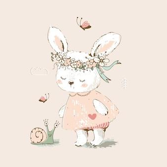 Cute bunny girl spotkał i zaprzyjaźnił się ze ślicznym ślimakiem ręcznie rysowane ilustracji wektorowych