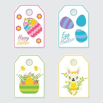 Cute bunny, kwiaty i kolorowe jaj cartoon ilustracji wektorowych dla wielkanocnych tagów prezent