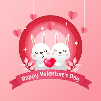 Cute bunny para trzymając realistyczne czerwone serce. walentynki w stylu wycinanki papieru. różowy piękny.