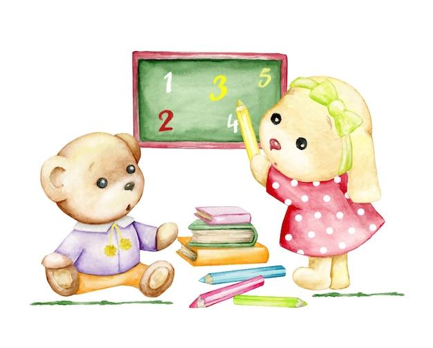 Cute bunny pokazuje ołówek, cyfry, na zielonej tablicy. koncepcja akwarela, na białym tle, na temat szkoły. królik i niedźwiedź, styl kreskówki.