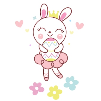 Cute bunny rabbit gospodarstwa pisanka