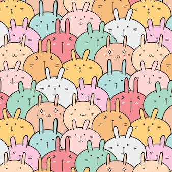 Cute bunny vector pattern background.