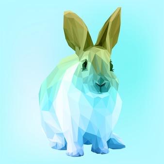 Cute bunny wielokątne wektor z gradientem
