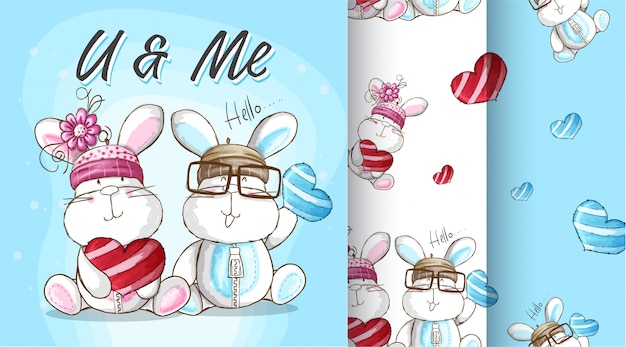 Cute bunny wzór ilustracji