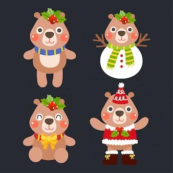 Cute cartoon bears christmas concept.