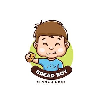 Cute cartoon chleb chłopiec kreatywne logo żywności dla dzieci