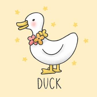 Cute cartoon kaczka i kwiaty naszyjnik ręcznie rysowane stylu