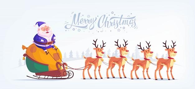 Cute cartoon niebieski garnitur santa claus jazda reniferów sanie ilustracja wesołych świąt poziome karty z pozdrowieniami