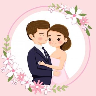 Cute cartoon para na zaproszenia ślubne karty