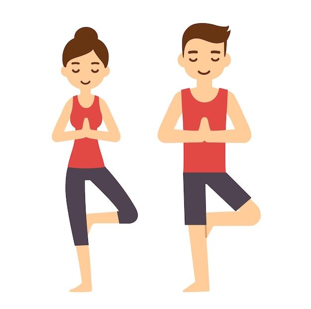 Cute cartoon para robi joga, asana stanowią drzewo. nowoczesne proste mieszkanie.