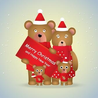 Cute cartoon rodzina niedźwiedzi brunatnych na sezon zimowy.
