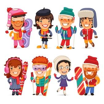Cute cartoon skiers skaterów i snowboardzistów