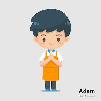 Cute cartoon sklep pomocy maskotka nosić fartuch w poszanowaniu działania wykorzystania do ilustracji
