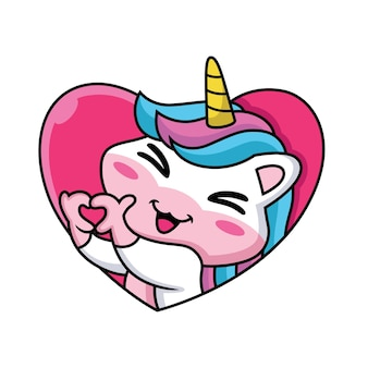 Cute cartoon unicorn wyrażenie na tle miłości