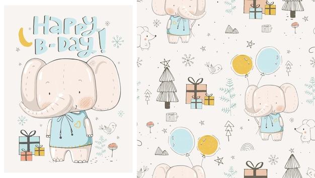 Cute cartoon urodziny słoń ręcznie rysowane ilustracji wektorowych może być używany do drukowania koszulki dla dzieci
