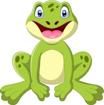 Cute cartoon żaba siedzi