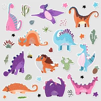Cute cartoon zestaw naklejek dino - wektor