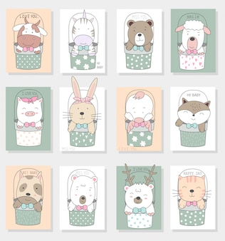 Cute cartoon zwierząt w ramce