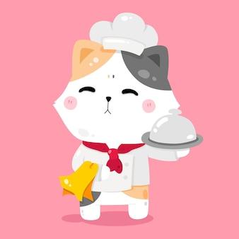 Cute cat chef kreskówka ilustracje zwierząt