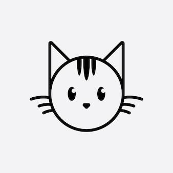 Cute cat head cartoon logo głowa kota dobre dla produktów związanych z pielęgnacją kotów