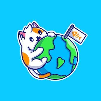 Cute cat hug world cartoon vector illustration. koncepcja natury zwierząt na białym tle wektor. płaski styl kreskówki