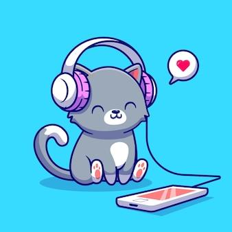 Cute cat słuchania muzyki ze słuchawkami postać z kreskówki. muzyka zwierząt na białym tle.