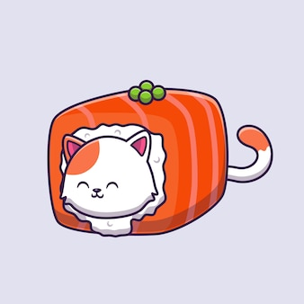 Cute cat sushi łosoś kreskówka ilustracja wektorowa.