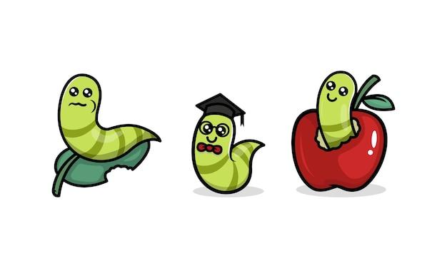 Cute caterpillar robak zwierzę maskotka ilustracja logo projektu