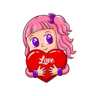 Cute character valentine's banner greeting card
