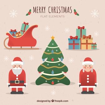 Cute christmas elementy w płaskiej konstrukcji