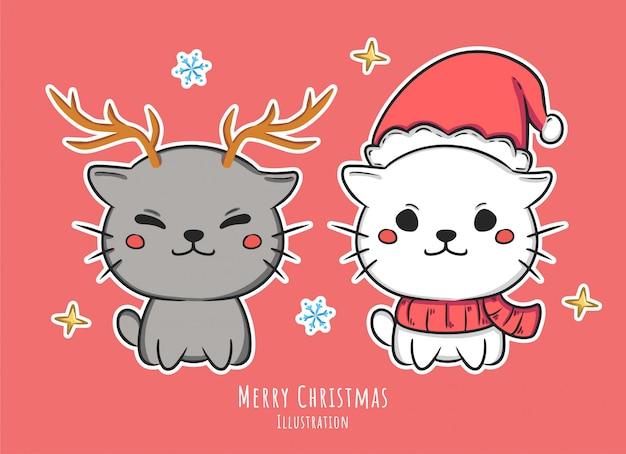 Cute christmas postaci ilustracji