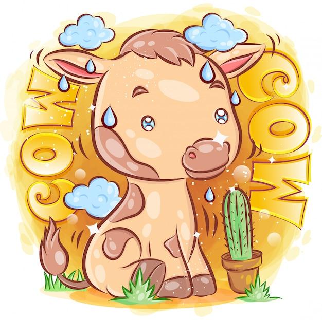 Cute cow usiąść na trawie