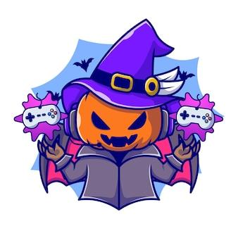 Cute czarownica dyni gier postać z kreskówki. technologia halloween na białym tle.