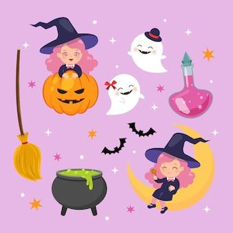 Cute czarownica dziewczyna clipart zestaw happy halloween płaski wektor kreskówka projekt