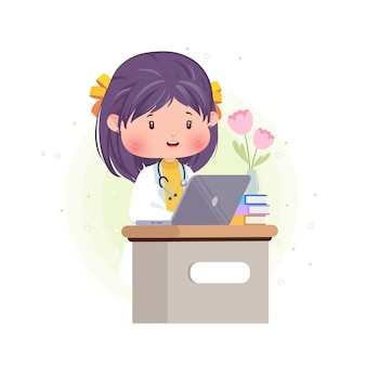 Cute doktor pracy przed laptopem pracy