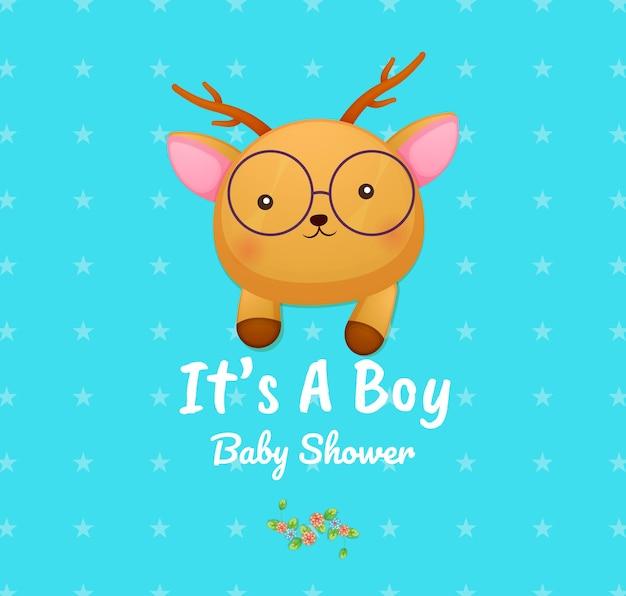 Cute doodle baby deer to karta baby shower dla chłopca