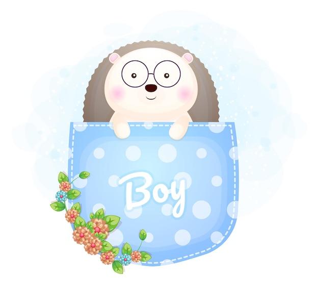 Cute doodle baby jeż chłopiec wewnątrz kieszeni