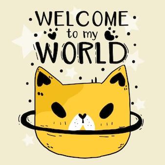 Cute doodle zabawny kot głowa gwiazda witaj w mojej ilustracji świata