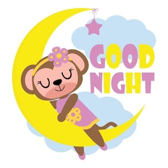Cute dziewczynka małpa kocha bananów ilustracji wektorowych kreskówek dla projektu kid t shirt, przedszkole ściany i tapetę