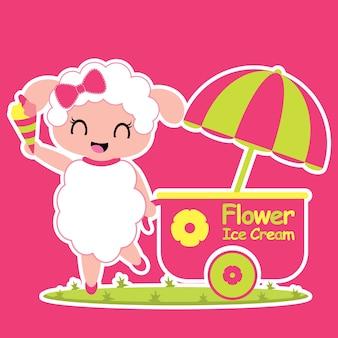Cute Dziewczynka Owiec Uśmiecha Ilustracji Wektorowych Kreskówek Dla Projektu Kid T Shirt, Przedszkole ściany I Tapety Premium Wektorów