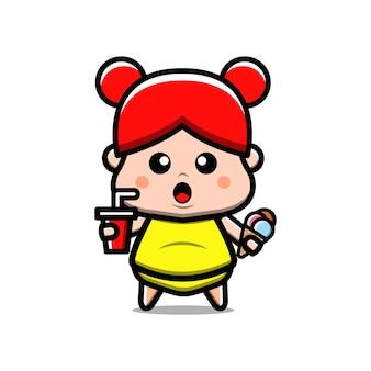 Cute fat girl jedzenie ilustracja kreskówka wektor