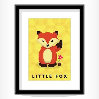Cute framed fox with flower obraz