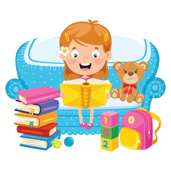 Cute funny child reading book