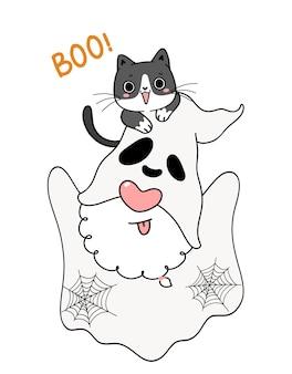 Cute ghost halloween gnome ze szczęśliwym figlarnym czarnym kotem kotem, boo, kreskówka ręcznie rysowane doodle kontur