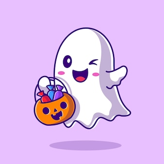 Cute ghost holding candy basket pumpkin cartoon illustration. płaski styl kreskówki