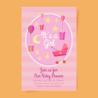 Cute girl baby shower zaproszenia