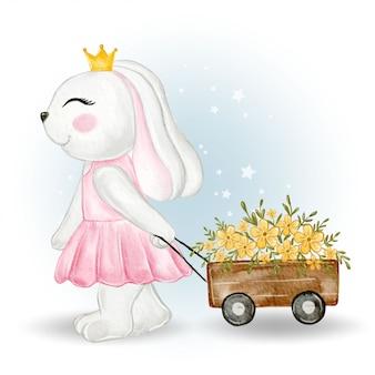 Cute girl bunny ciągnąc wózki kwiatowe