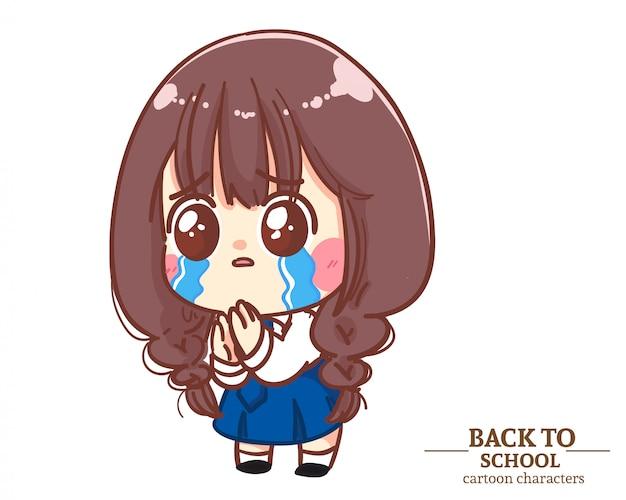 Cute girl dzieci mundurki studenckie czują się winne powrotu do szkoły. ilustracja kreskówka premium wektorów