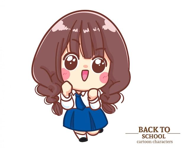 Cute girl dzieci mundury studenckie podekscytowany i zadowolony z powrotem do szkoły. ilustracja kreskówka premium wektorów