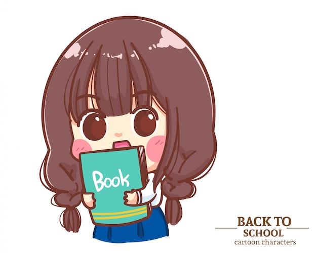 Cute girl dzieci mundury studentów trzymając książkę z powrotem do szkoły. ilustracja kreskówka premium wektorów